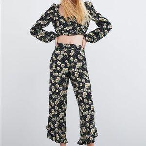 ZARA Floral Ruffle Hem Crop Pants